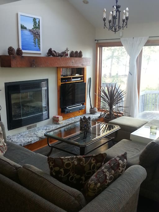 Lake-view living room