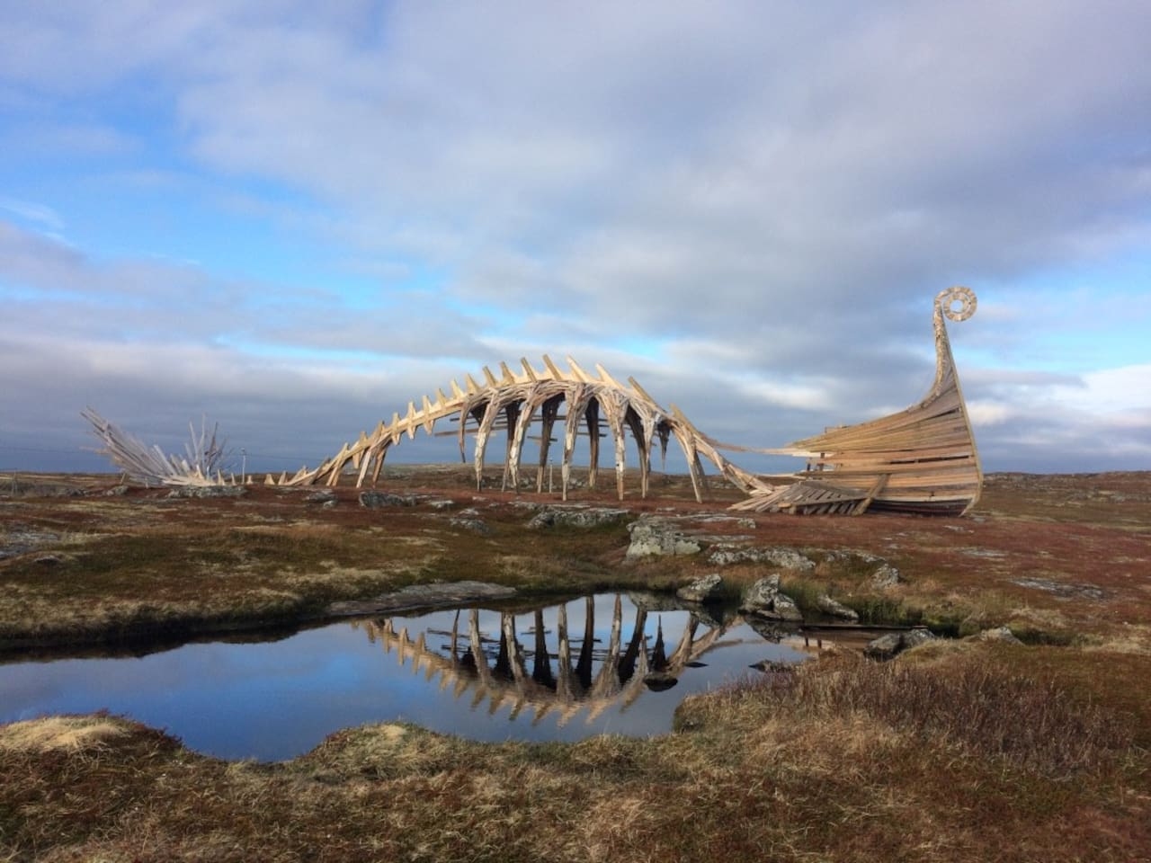 """A 10-15 minute walk from the house brings you to the monument """"Drakkar"""" made of  driftwood by Russian Artists"""