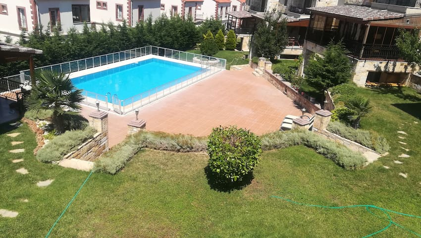 Stone house flat with great view in site with pool