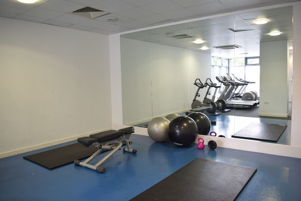The gym facility is available for free 24/7 and it is only downstairs.