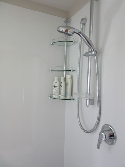 Hot shower with shampoo and conditioner provided.