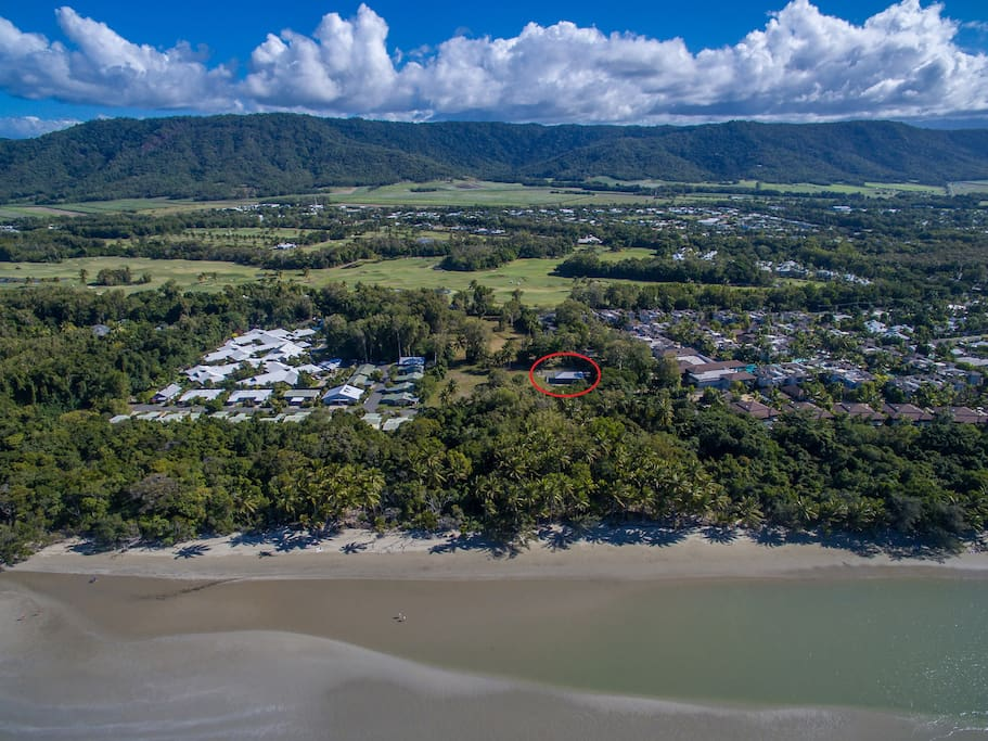 Located on a very secluded beachfront parcel of land.