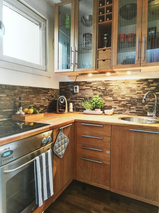 A well equiped small kitchen.