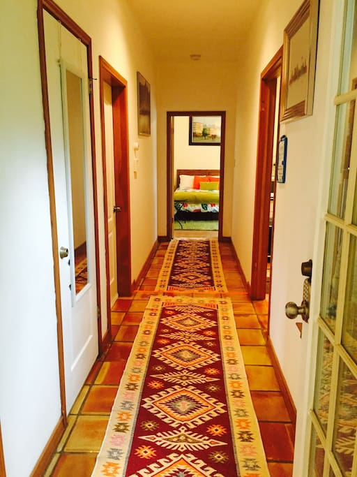 The hall way leading to the bedroom.