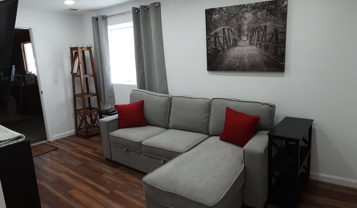 Apartment in garden level basement with walkout.