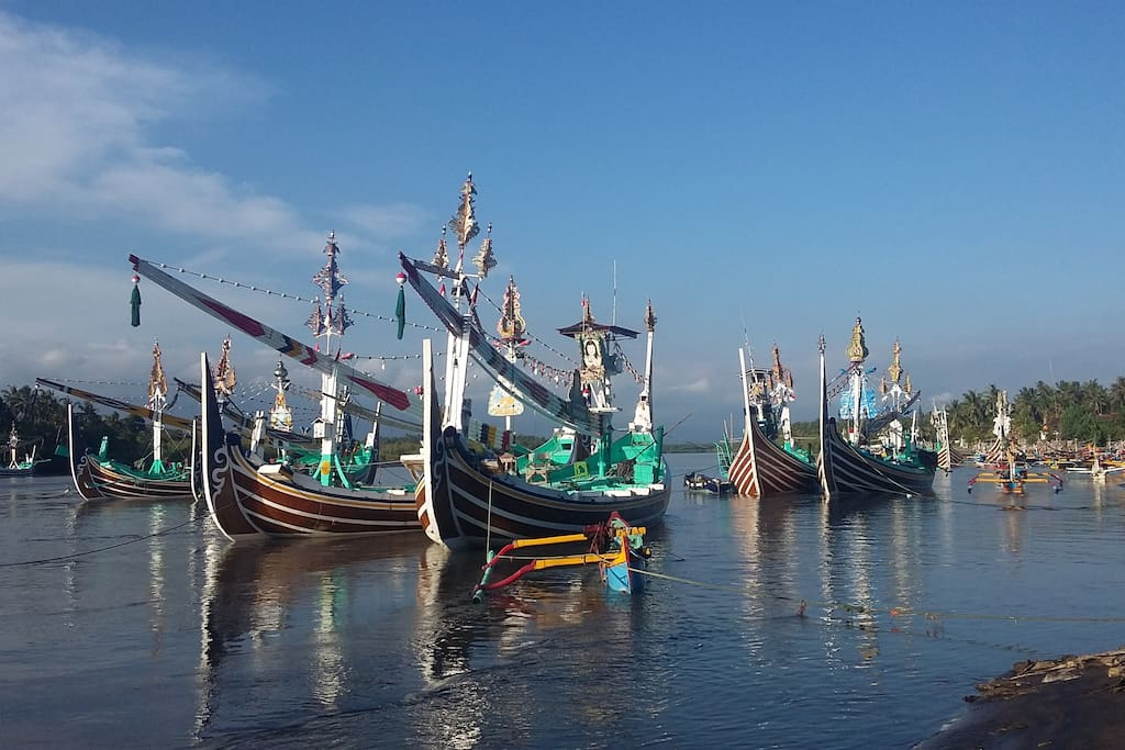 Traditional fishing boats in the lagoon