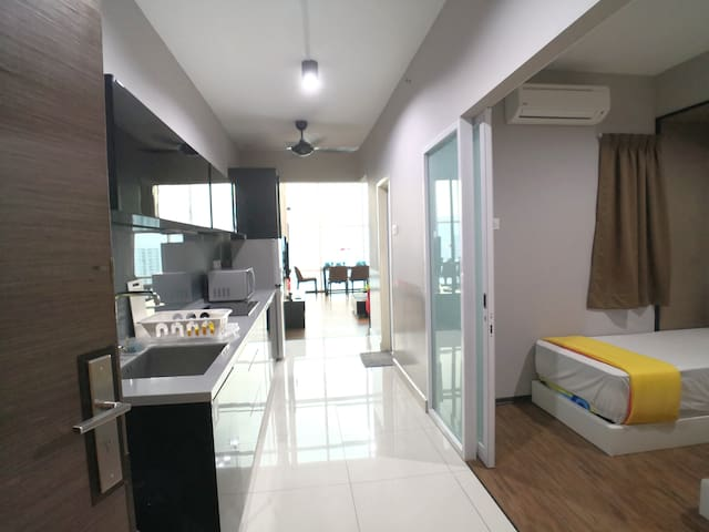 This is the view that welcome you enter our house. The dry kitchen is at the left area and the ground floor bedroom is on the right area.