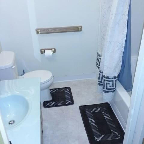 bathroom with shower, shampoo, conditioner, body wash, makeup toilettes, feminine products (ask Jeni)