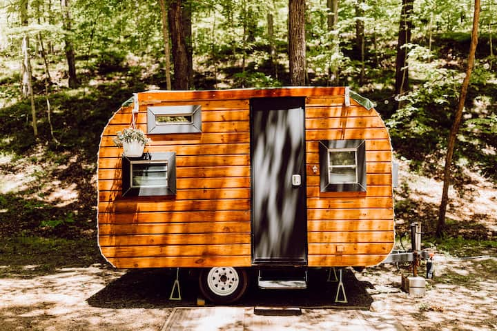 Vintage wood camper in Brown County