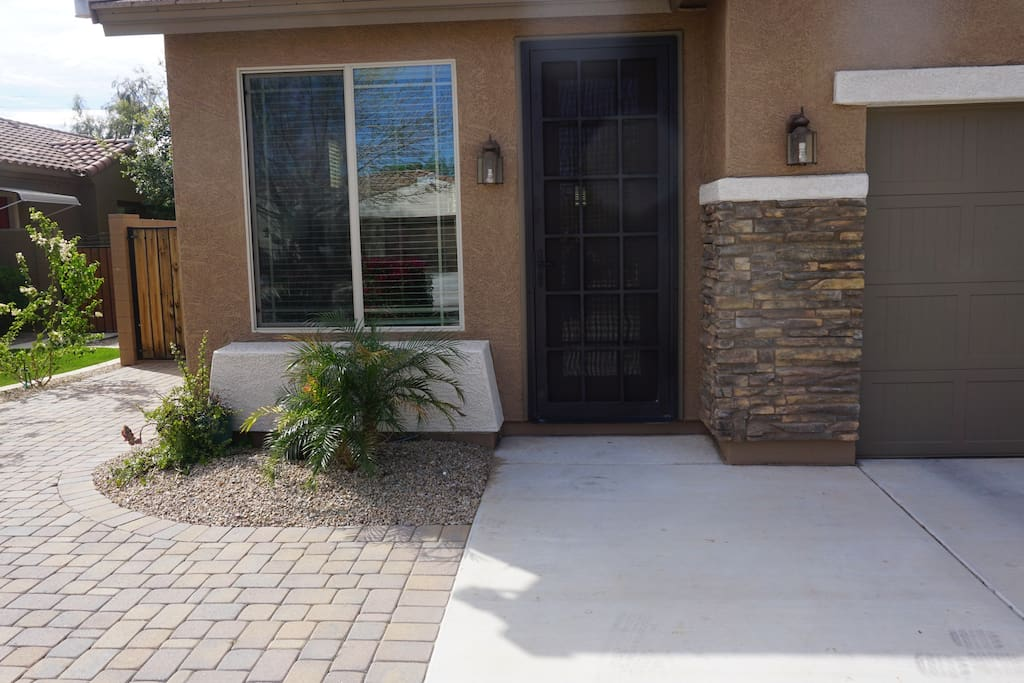 Private Casita entrance. Side driveway parking