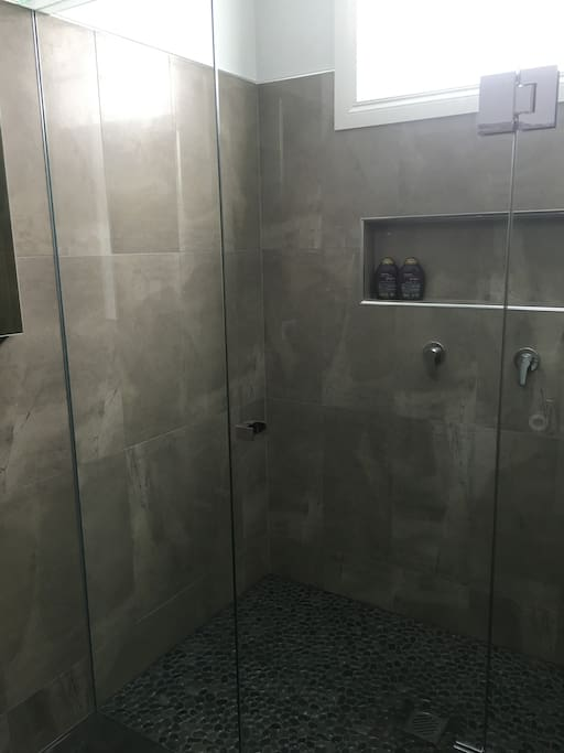 Modern ensuite with large double shower.