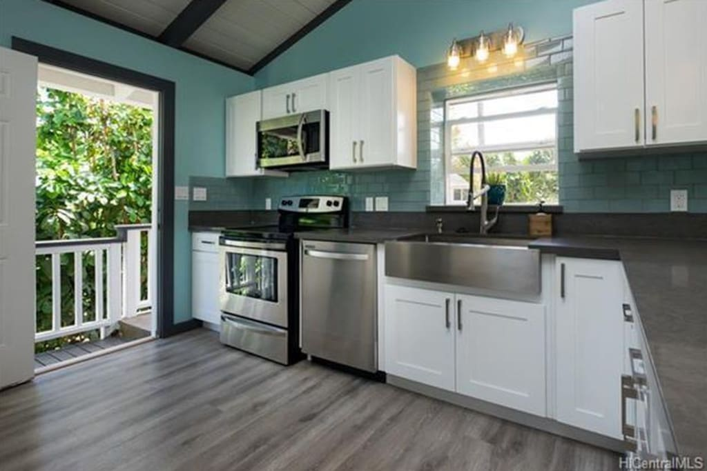 Kitchen with high end appliances throughout.