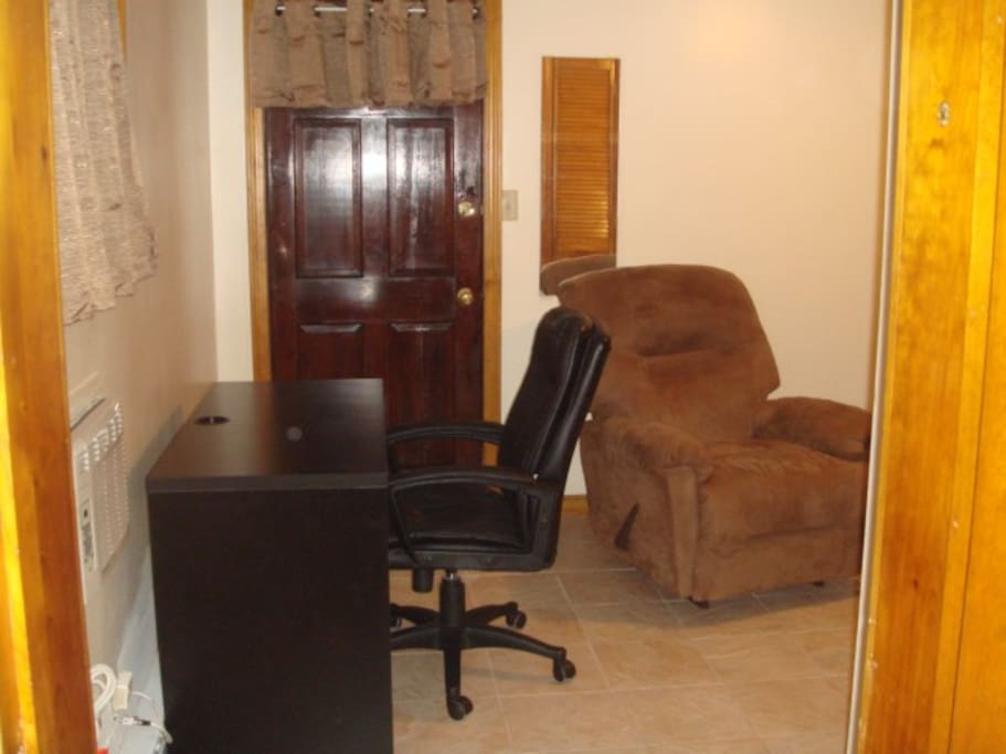Nice room with full bed, 2 closet, Recliner,Desk.