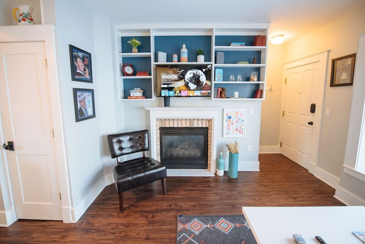 The suite features a Smart TV with streaming services and cable and lightning fast WiFi.  For low-tech fun, flip on the gas fireplace and enjoy some games with friends!