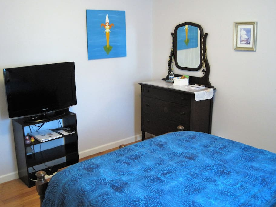 A television with antenna and Roku are included in the room.