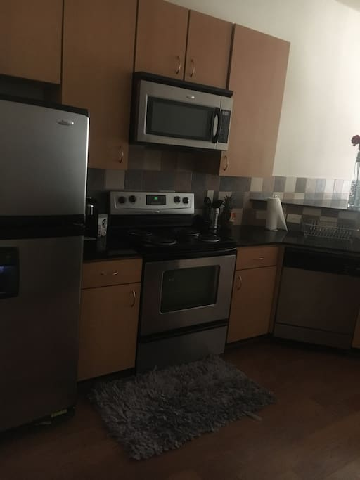 Open space kitchen all stainless steal appliances !!