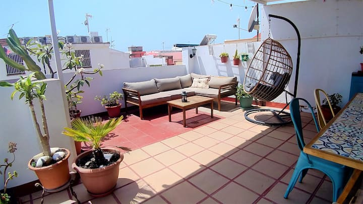 Andalusian house - Beach at 85 meters - Terrace