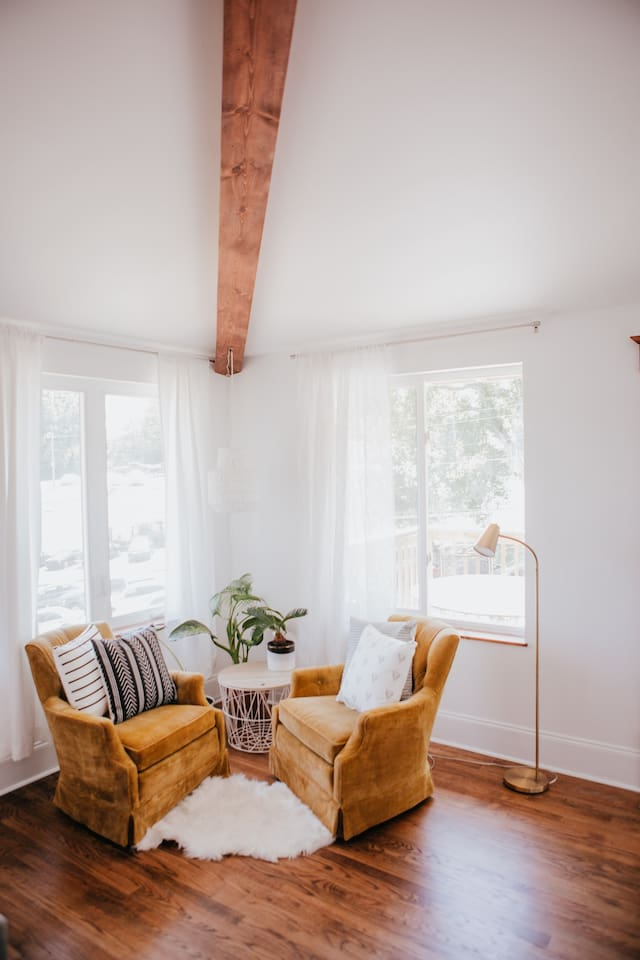 Hygge reading corner for coffee or late night reading.