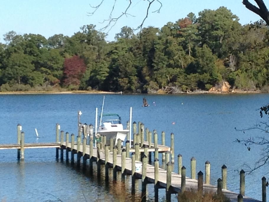 Dock with deep water and boat lift