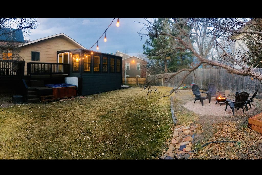 Backyard Retreat - Large deck with lots of seating & a grill, sunroom, gas fire pit, kids sandbox, and... hot tub!