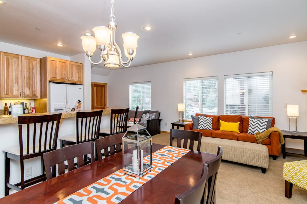 Gather around the dining room table with seating for 6.