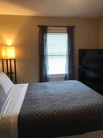 2nd bedroom! Newly updated bedding, 50 inch smart tv, blinds & drapes. Making your comfort even better!