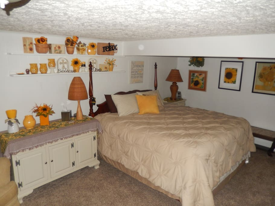 The bedroom is huge and has an incredibly comfortable king size bed.