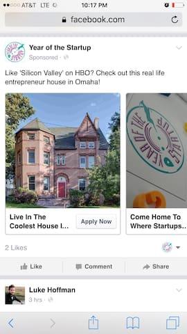 Room at Startup Mansion - Omaha - Casa