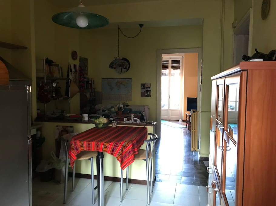 the kitchen and the opposite balcony