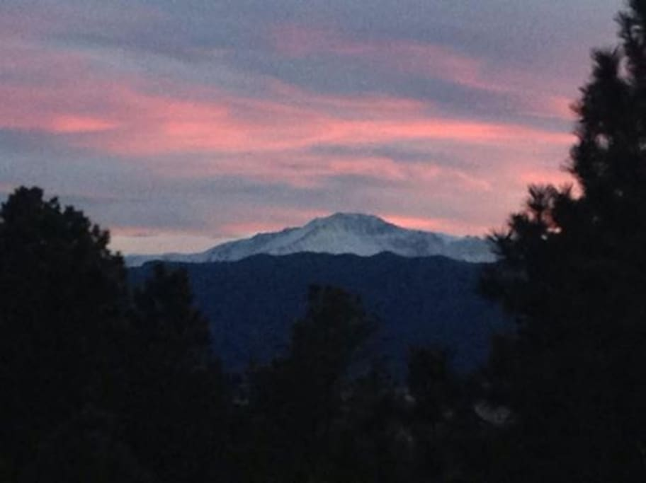 Pikes Peak sunset off back patio upper deck