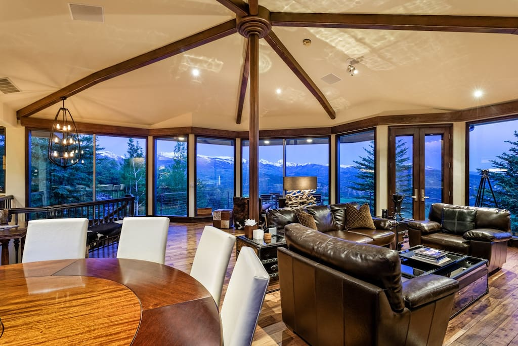 The second floor living and dining areas featuring breathtaking panoramic vistas of all four Aspen peaks.