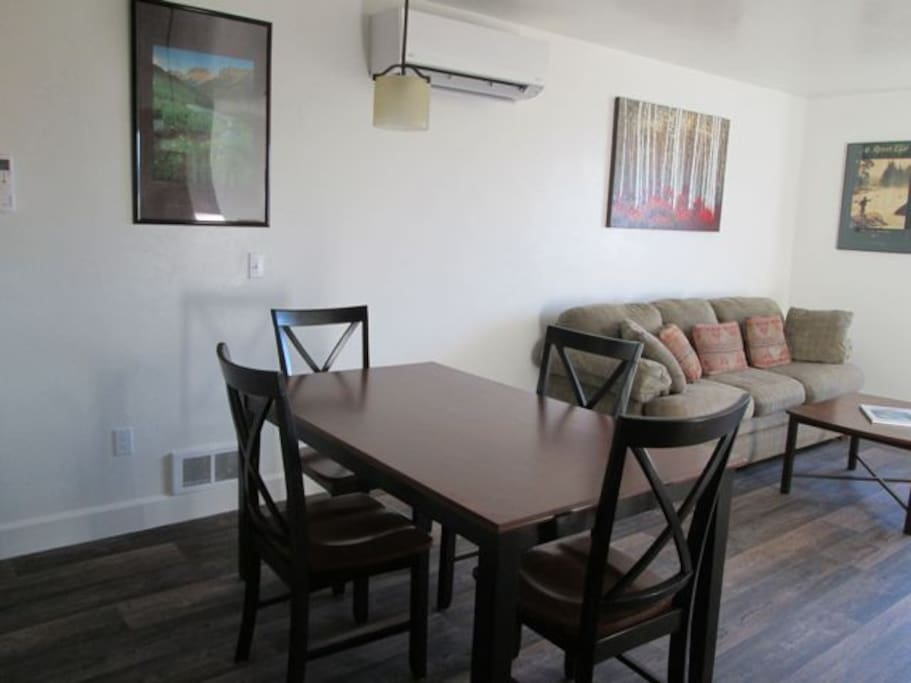 Dining table and sleeper sofa