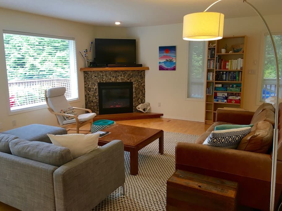 Cozy living space to watch TV or curl up by the fire with a book