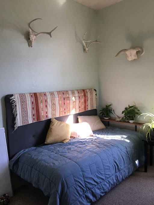 Small twin bed bedroom with air mattress