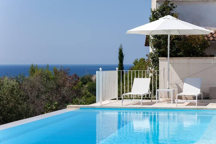 Villa vista mare e piscina con acqua Salata m900