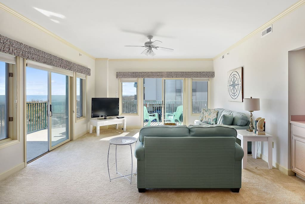 Living Room Area with Ocean Front Balcony