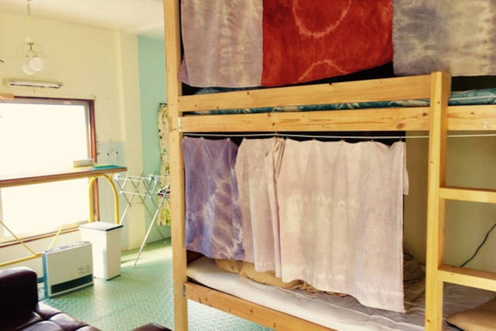 Dormitory with 3 bunk beds. Each beds has  light,Electric plug.