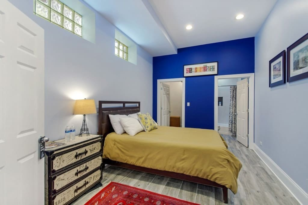 Your XL master bedroom comes with Serta Beauty Rest deluxe mattress,  oversized pillows, several throws and blankets on hand.  Beautiful double French doors give you complete privacy.