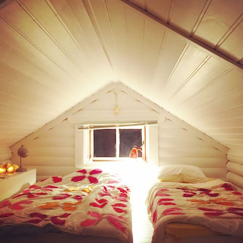 Beds privately on the loft