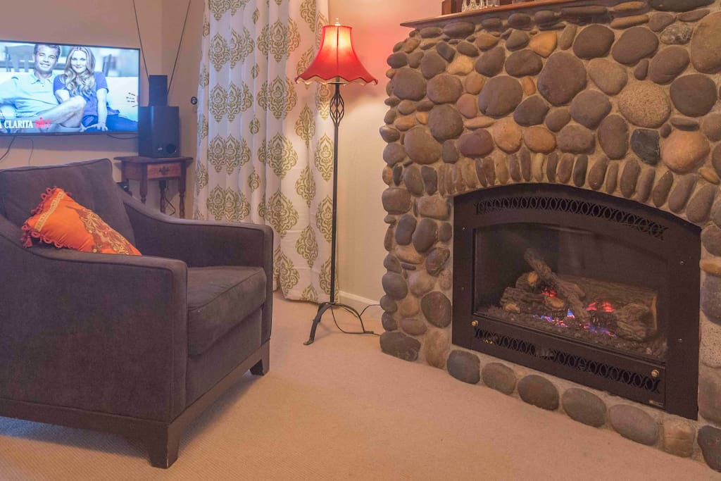 TV with rabbit ears, Netflix, Amazon, Slink, sound bar, and gas fireplace.