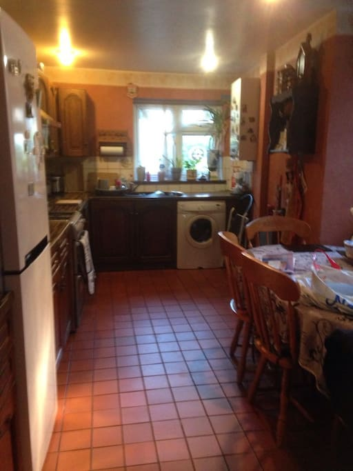 Big kitchen with washing machine