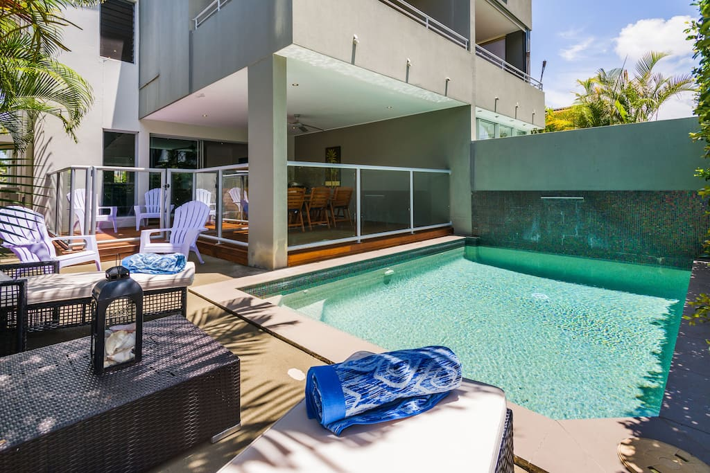 Pool area completely enclosed and very sheltered