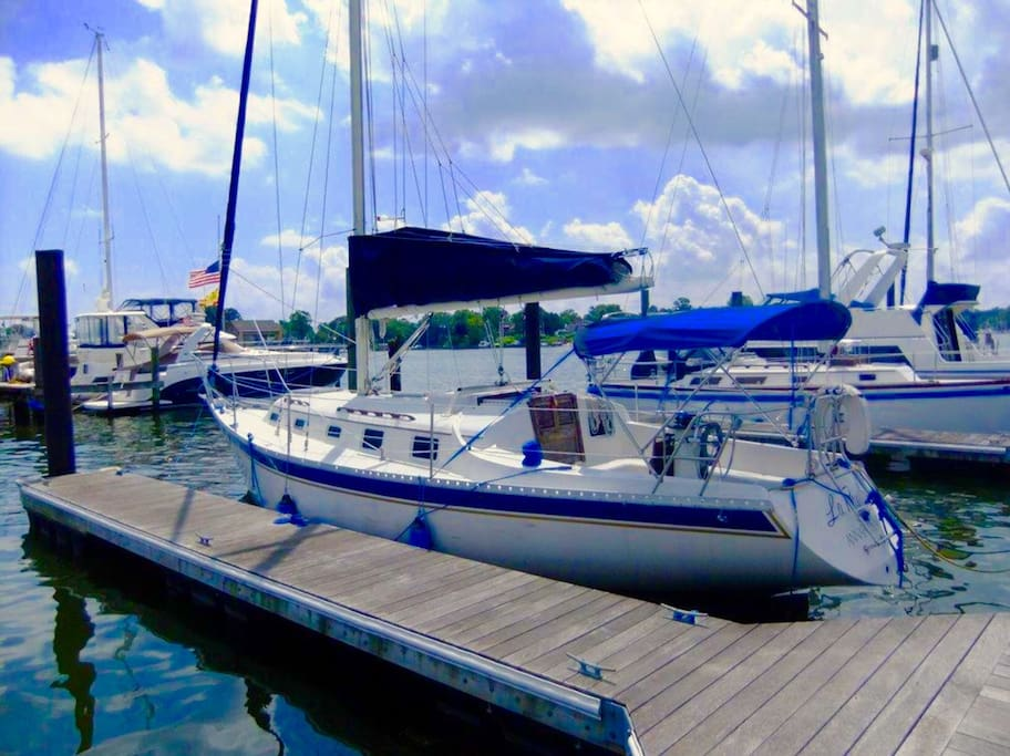 34 ft sail boat in a very quiet marina.