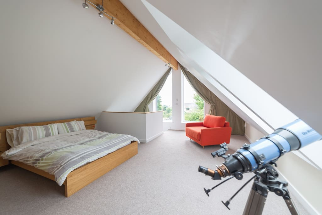 Very large spacious bedroom.  On a clear night - use the telescope for stargazing!
