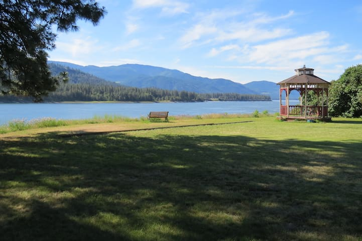 Both a park bench and a gazebo offer relaxing places to meditate, read, sip your coffee, and contemplate the beautiful view!
