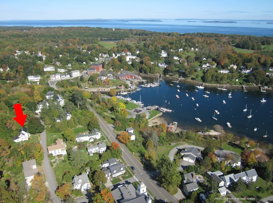 Aerial view of the house and Rockport Harbor