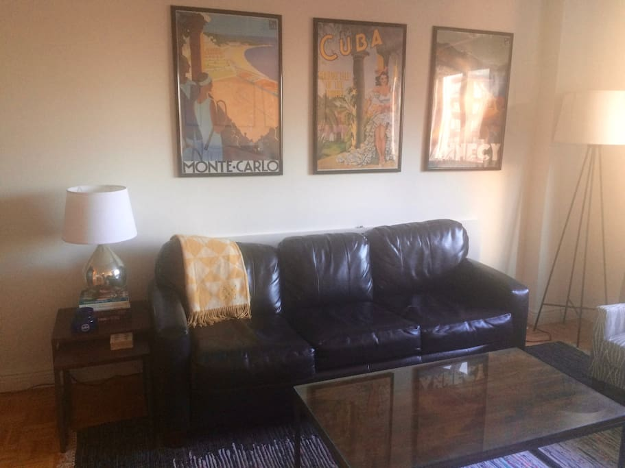 Comfy leather couch. We also have a self-inflating, pillow-top air mattress that guests are free to use. It sleeps 2.