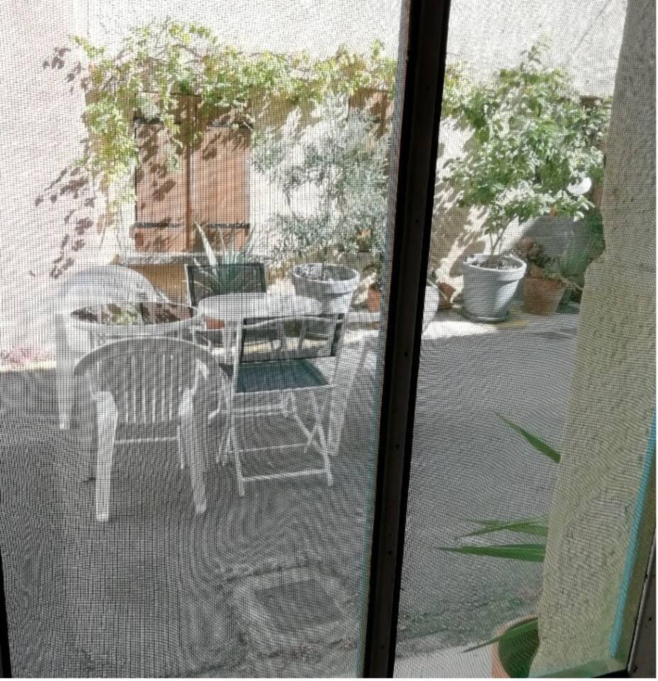 le salon de jardin devant la maison