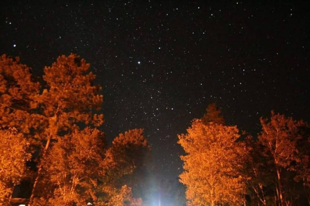 Vista del cielo estrellado en la noche.