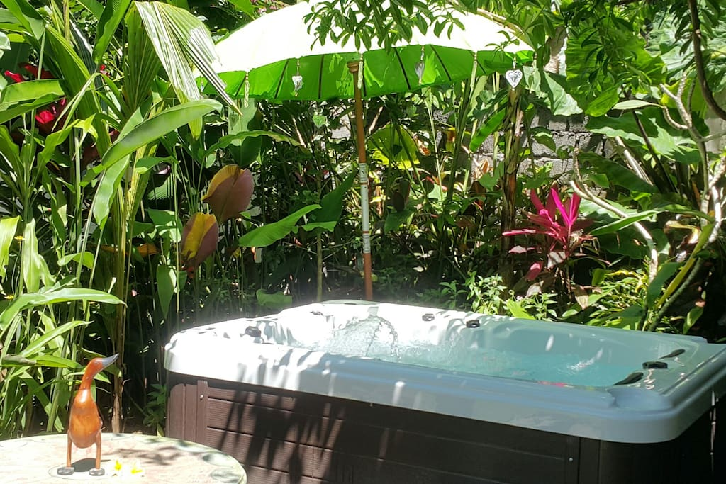 Relax in our jungle Jacuzzi. .. feel those massage jets